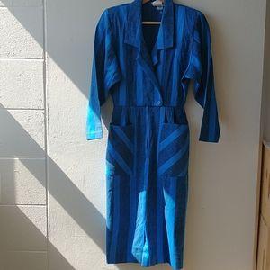 Vintage Algo Blue and Navy dress